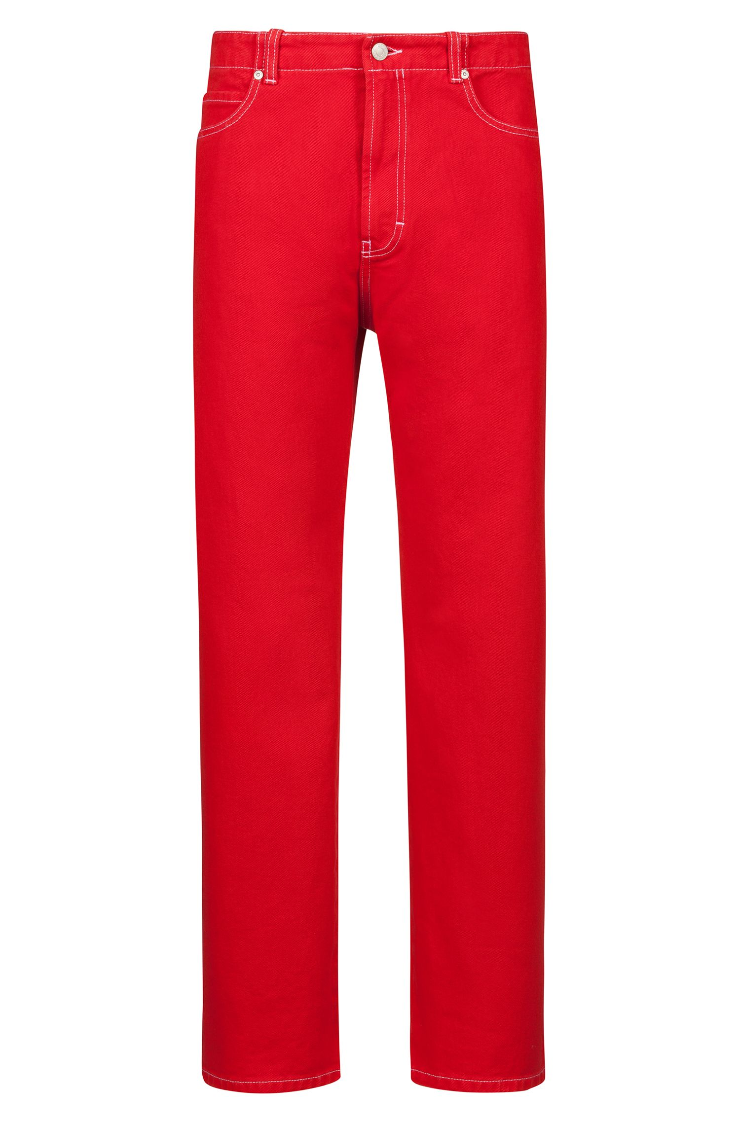 Relaxed-Fit Jeans aus überfärbtem Denim mit umgeschlagenen Hosensäumen, Rot