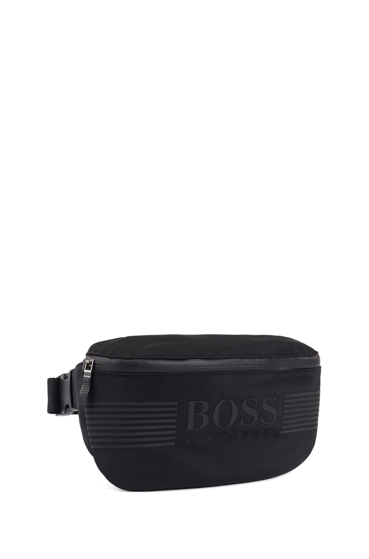 Logo belt bag in structured nylon, Schwarz