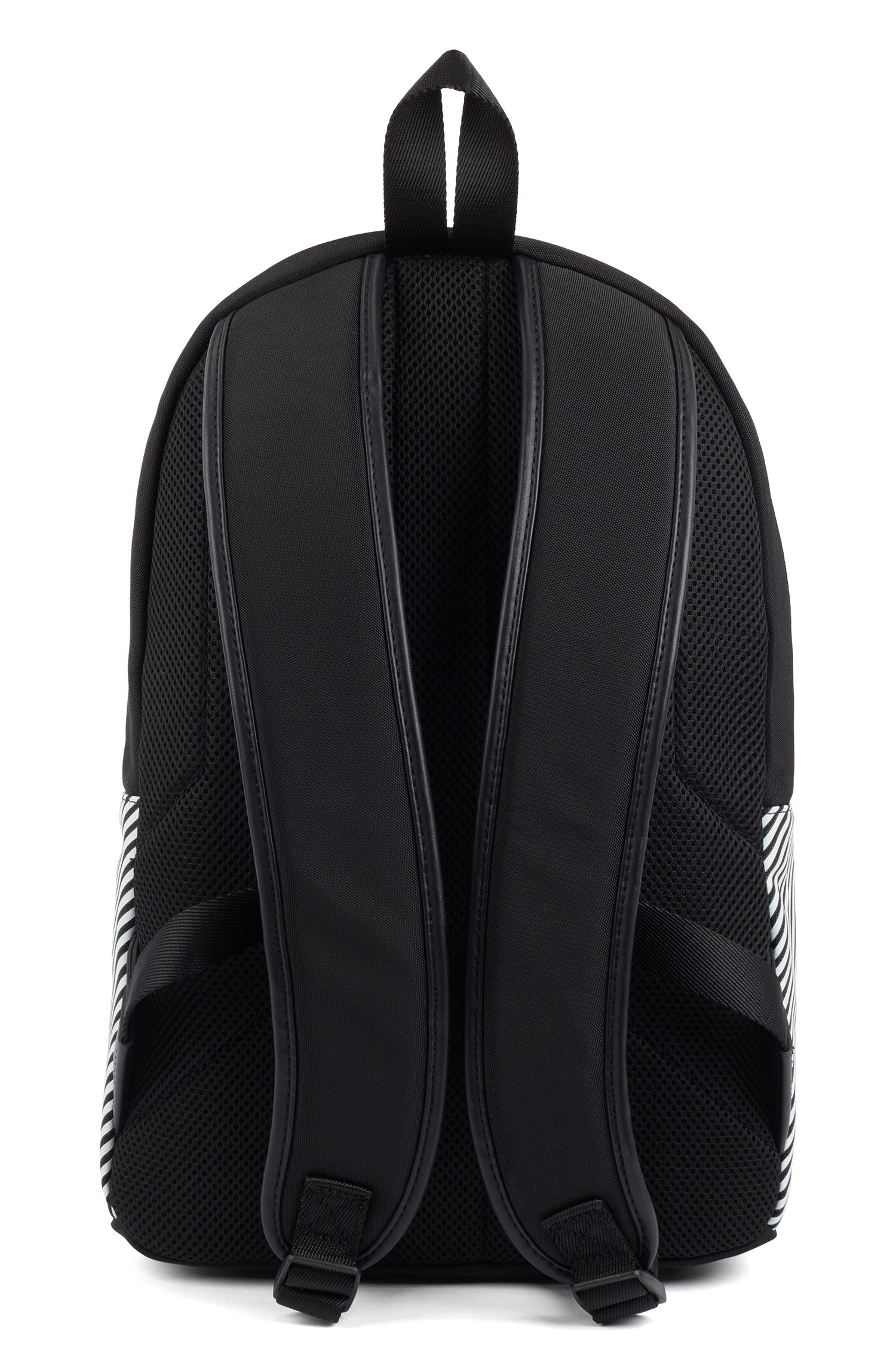 Zipped backpack in structured nylon with printed stripes, Patterned
