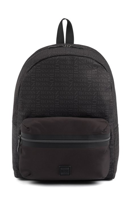 Logo-print backpack in structured nylon, Black