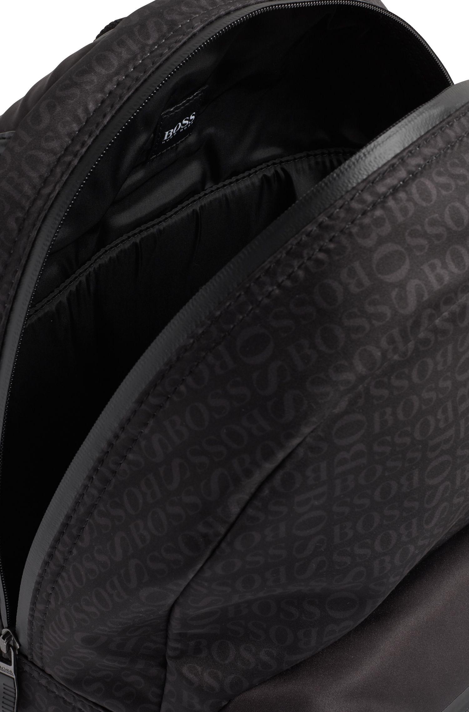 Rugtas van gestructureerd, technisch materiaal met logoprint, Zwart