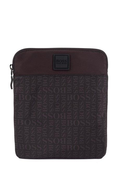 Umhängetasche mit Reißverschluss, Logo-Muster und verstellbarem Riemen, Schwarz