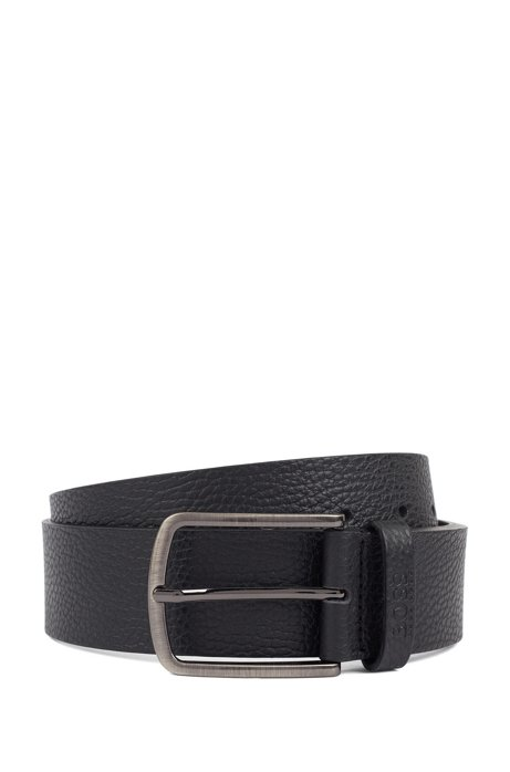 Belt in grained leather with rounded buckle, Black