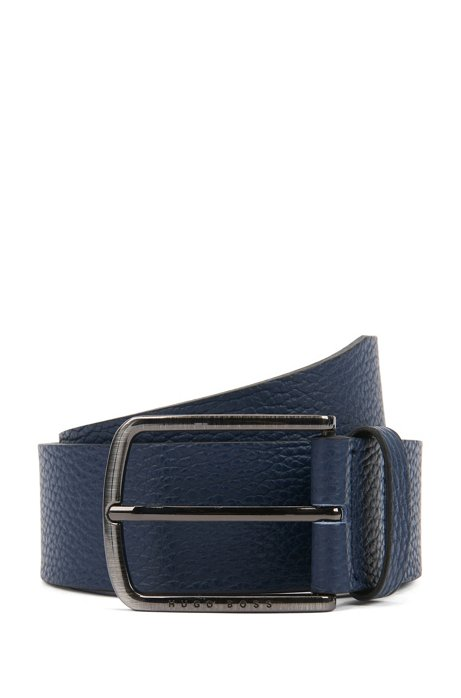 Belt in grained leather with rounded buckle, Dark Blue