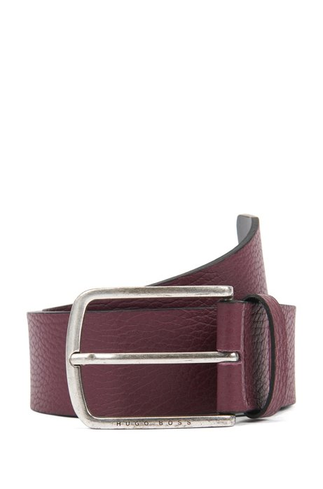Belt in grained leather with rounded buckle, Dark Red