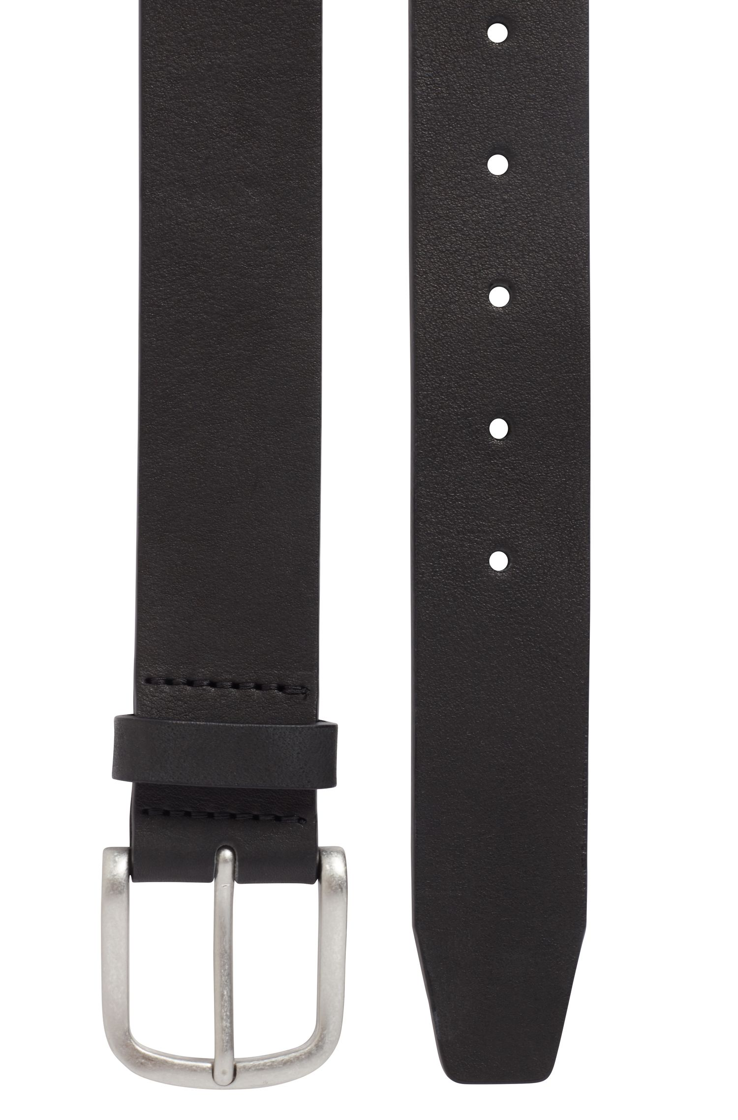 Brass-buckle belt in vegetable-tanned leather, Black