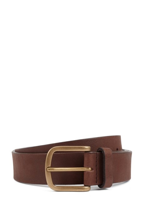 Brass-buckle belt in vegetable-tanned leather, Dark Brown