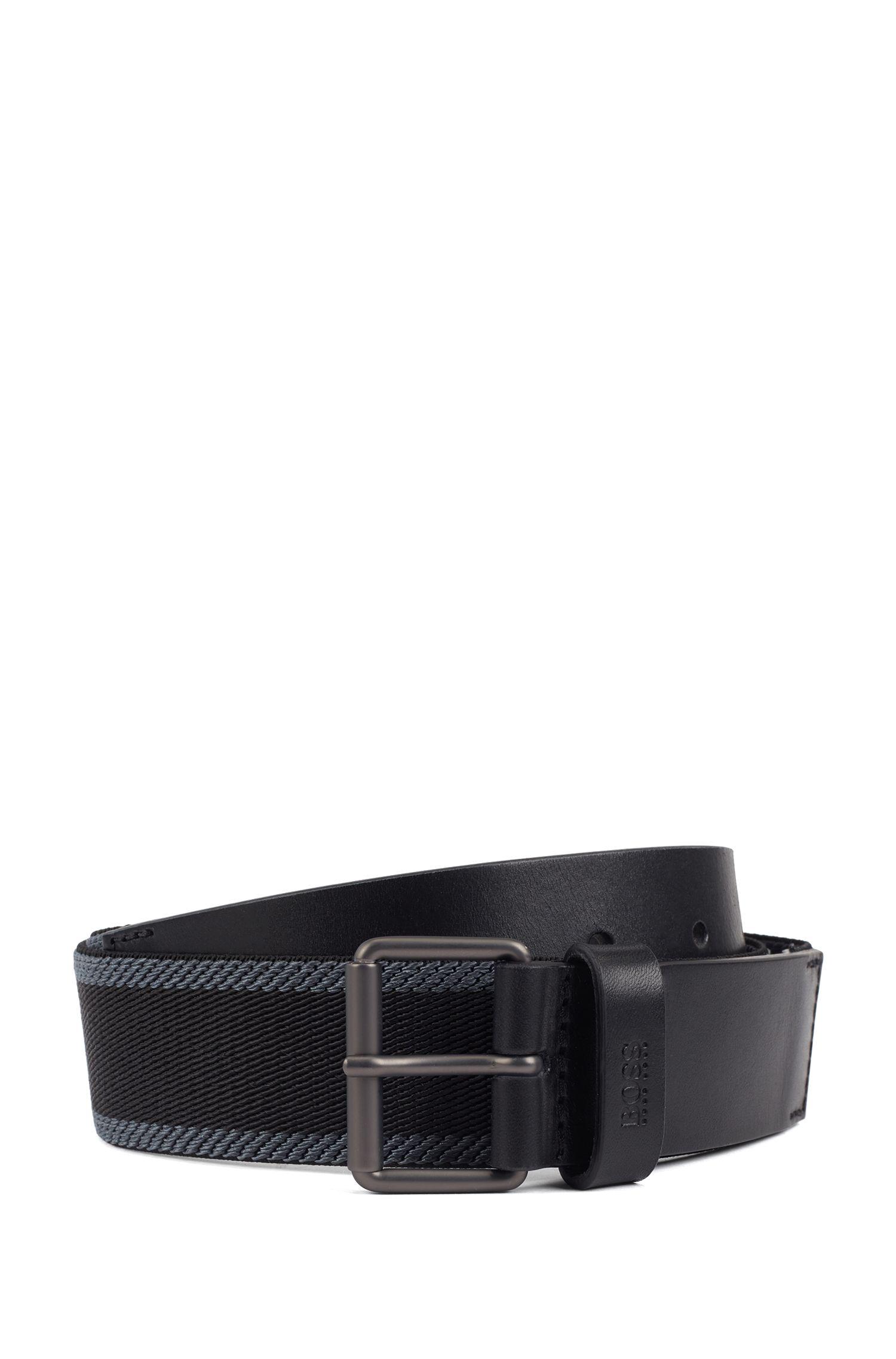 Cintura casual in tessuto con rifiniture in pelle, Nero