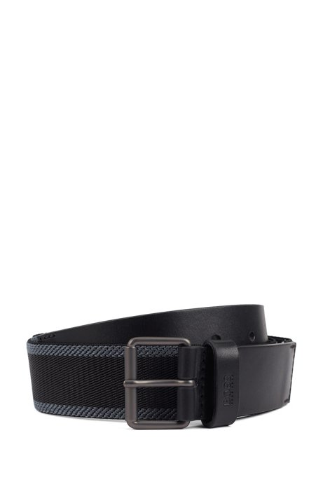 Casual belt in fabric with leather trims, Black