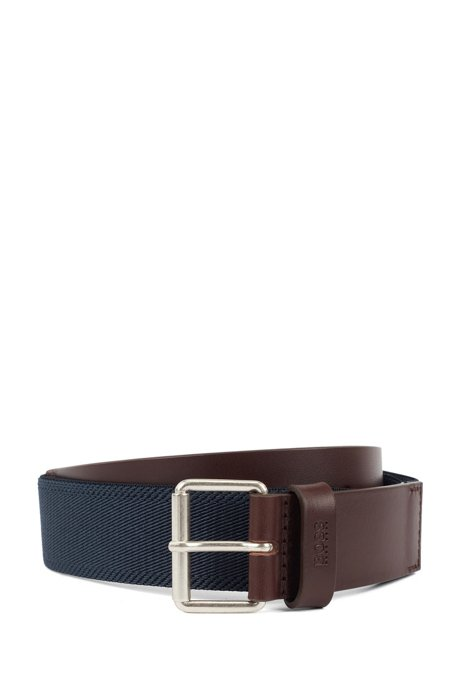 Casual belt in fabric with leather trims, Dark Brown