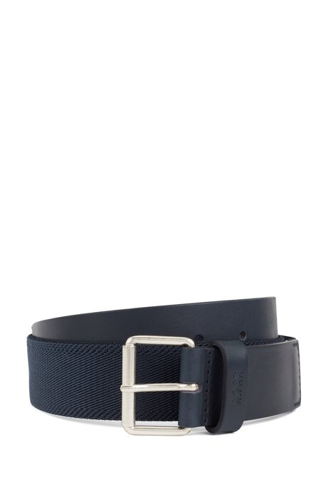 Casual belt in fabric with leather trims, Dark Blue