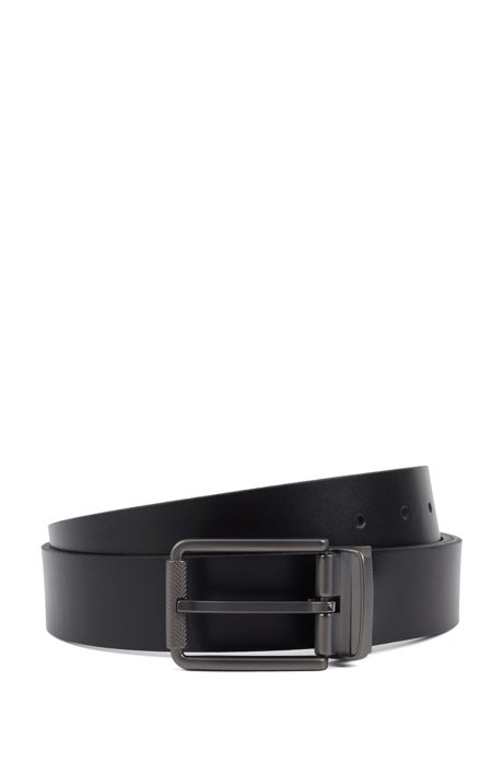 Italian-made reversible belt in plain and embossed leather, Black