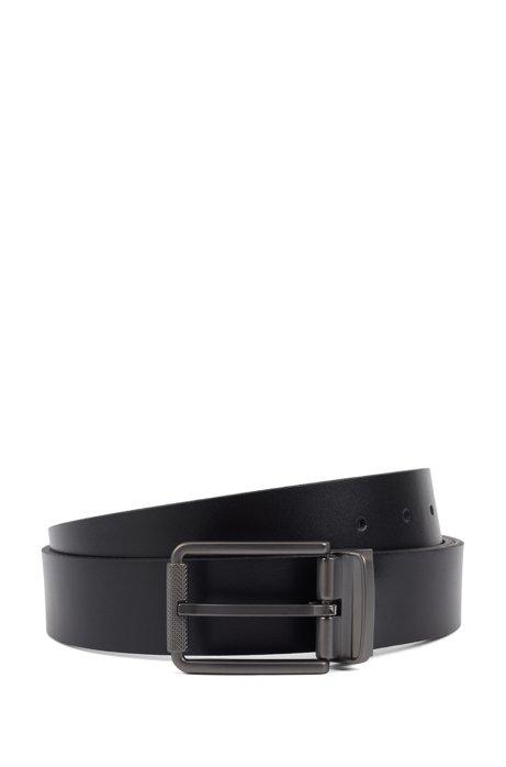 In Italien gefertigter Wendegürtel aus glattem und geprägtem Leder, Schwarz