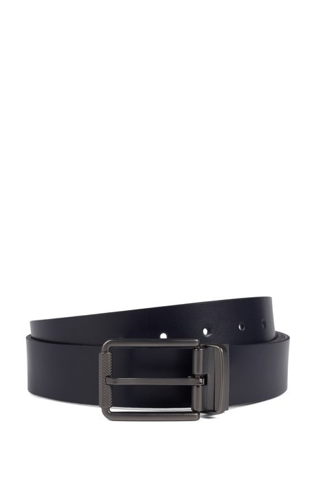 Italian-made reversible belt in plain and embossed leather, Dark Blue