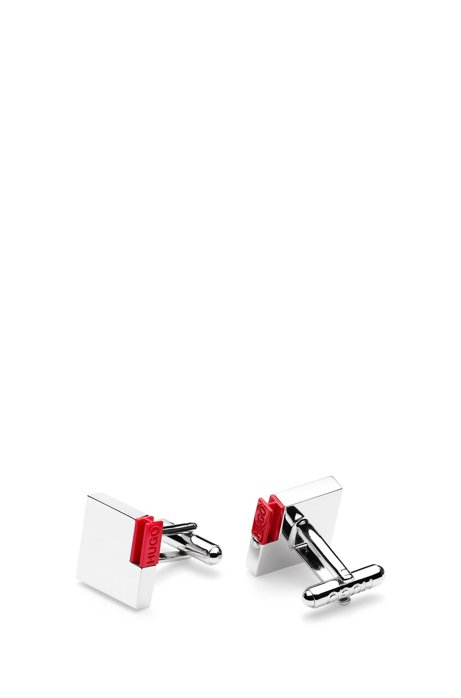 Square polished-metal cufflinks with logo-engraved enamel insert, Silver