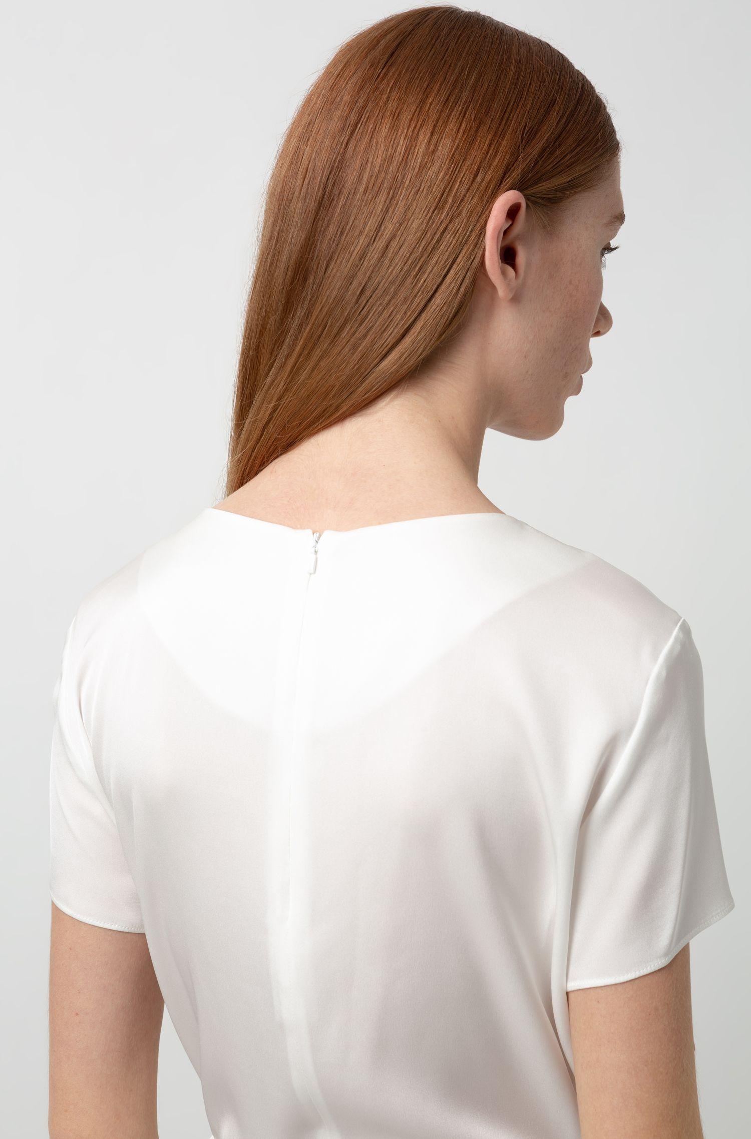 Top met split aan de voorkant, van stretchzijde met hardwaredetail, Naturel