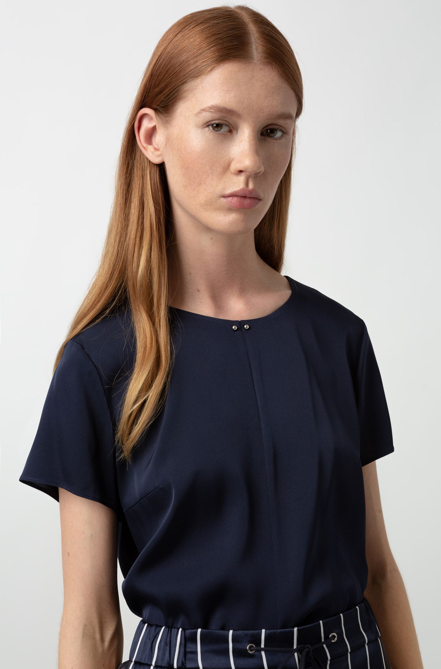 Slit-front top in stretch silk with hardware detailing, Blue