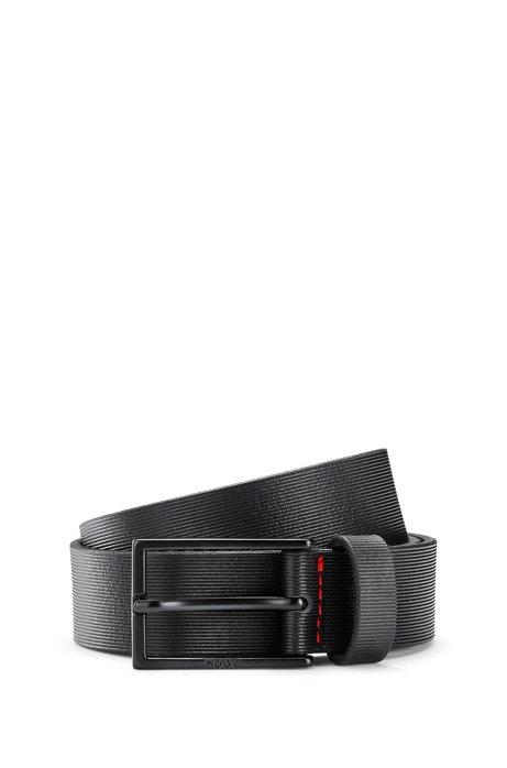 Ledergürtel mit matten Metall-Details, Schwarz
