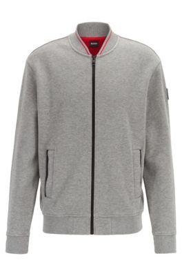 Giacca in jersey con zip integrale in cotone elasticizzato lavorato, Grigio chiaro