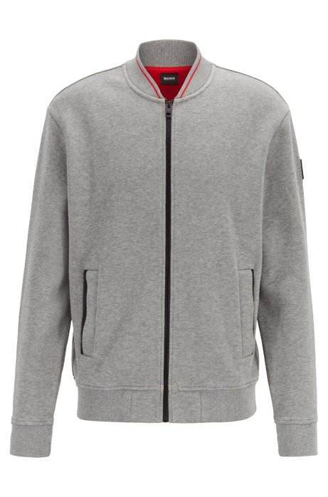 Zip-through jersey jacket in structured stretch cotton, Open Grey