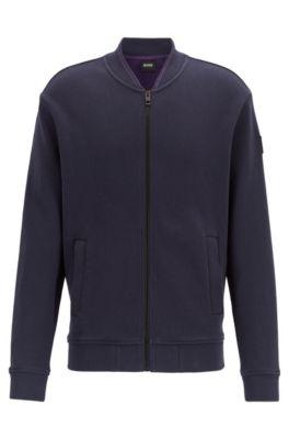 Veste zippée en jersey de coton stretch structuré, Bleu foncé