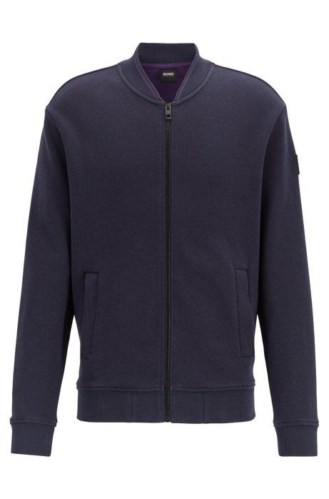 Giacca in jersey con zip integrale in cotone elasticizzato lavorato, Blu scuro