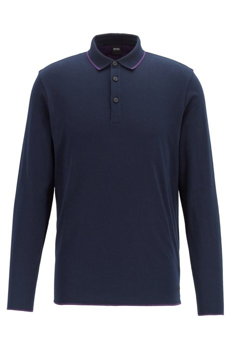 Relaxed-fit colour-blocked polo shirt in cotton jersey , Dark Blue