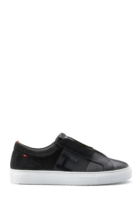 Low-top trainers in Italian leather with logo band, Black