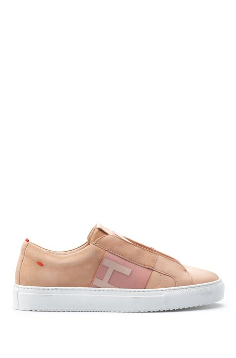 Low-top trainers in Italian leather with logo band, Open Pink