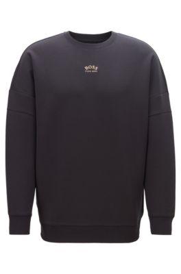 Sweatshirt aus Baumwoll-Mix mit geschwungenen Logos, Schwarz