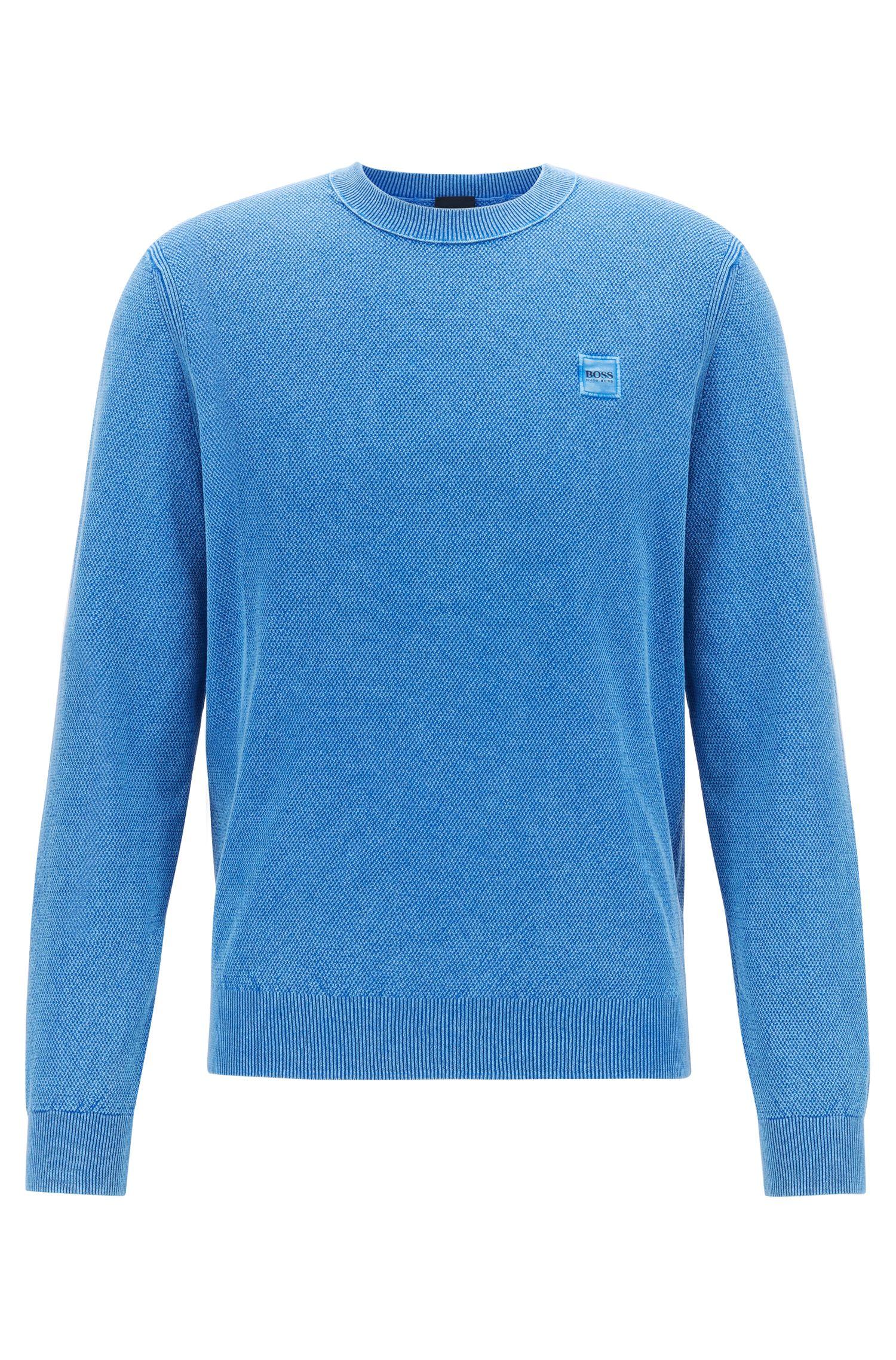 Rundhals-Pullover aus Baumwolle mit Reiskorn-Struktur, Blau