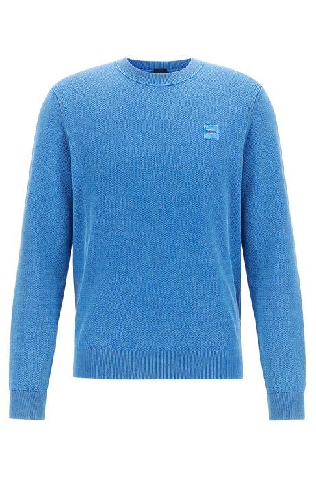Jersey de cuello redondo en algodón de punto de arroz, Azul
