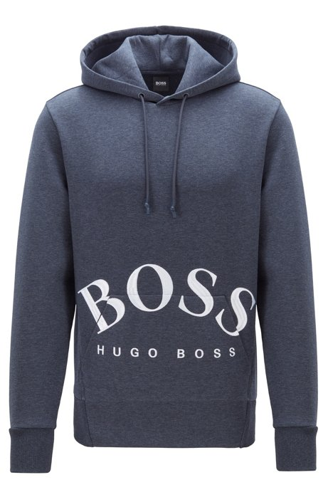 Hooded sweatshirt with rounded logo embroidery, Dark Blue