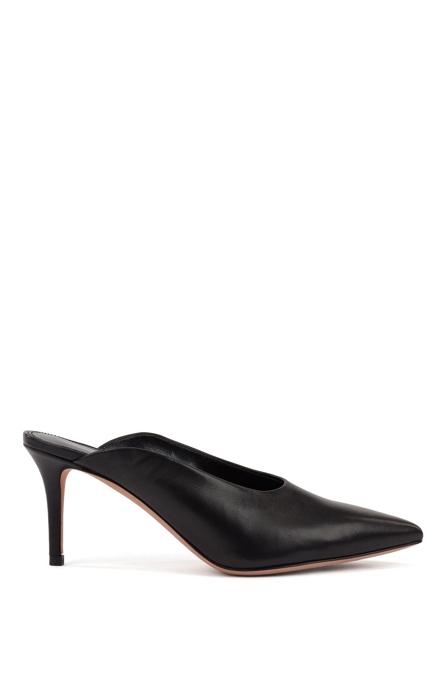 Zapatos mules con tacón de media altura en piel de napa italiana, Negro