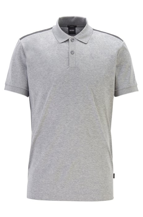 Slim-fit polo shirt with contrast shoulder panels, Grey
