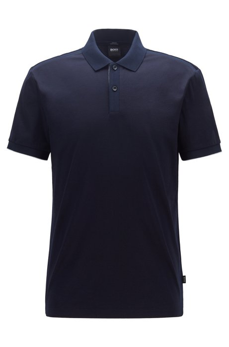 Slim-fit polo shirt with contrast shoulder panels, Dark Blue