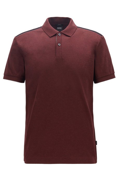 Slim-fit polo shirt with contrast shoulder panels, Dark Red
