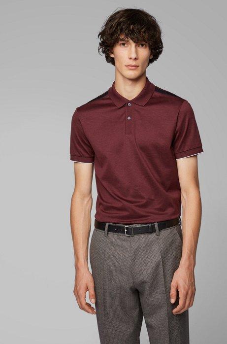 Poloshirt aus Baumwolle mit kontrastierenden Schultereinsätzen, Dunkelrot