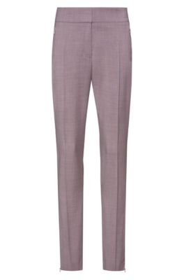 Pantalon Slim Fit zippé sur le bas, issu de la collection Fashion Show, Rose clair
