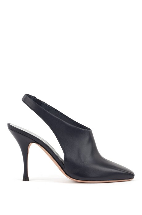 Open booties in Italian nappa leather, Dark Blue
