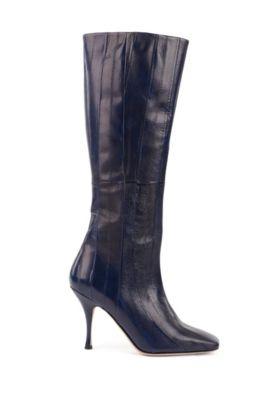 Stivali al ginocchio in pelle di anguilla prodotta in Italia con tacco di 9cm, Blu scuro