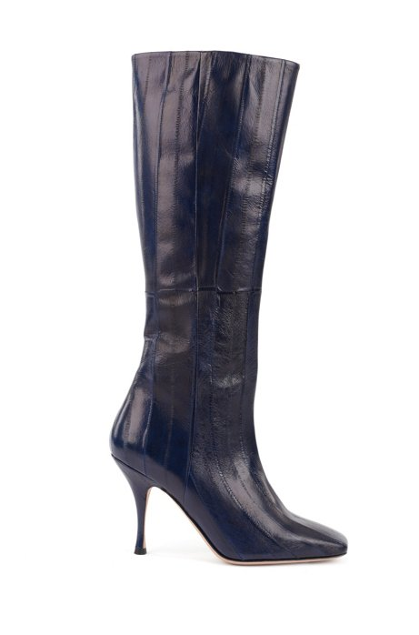 Knee-high boots in Italian eelskin with 9cm heel, Dark Blue