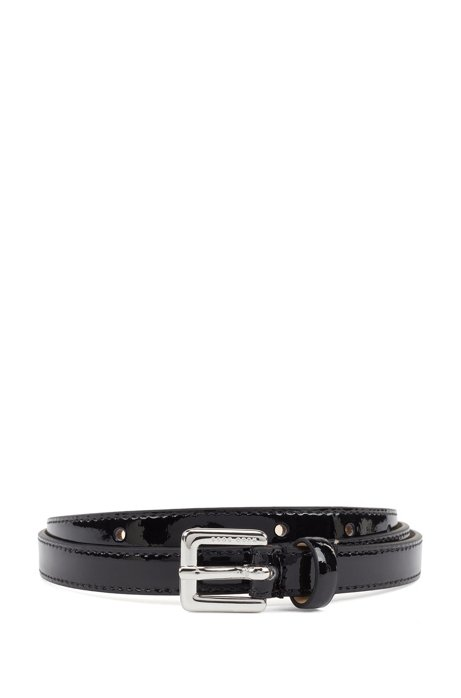 Italian-made belt in patent leather with silver buckle, Black