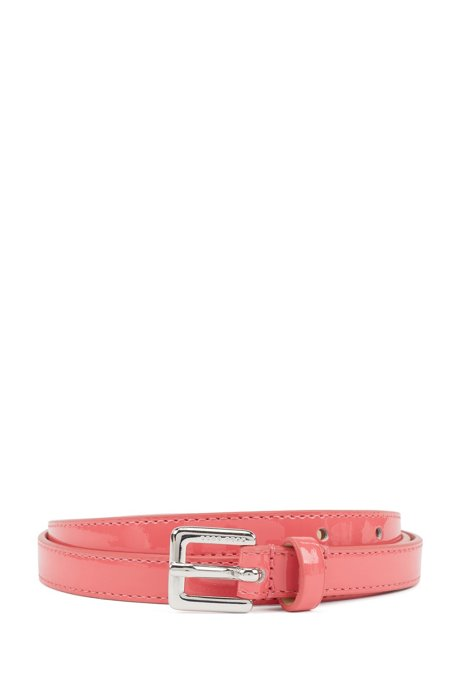 Italian-made belt in patent leather with silver buckle, Pink