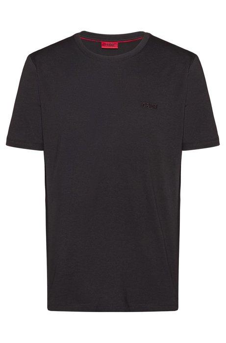 Reverse-logo T-shirt in single-jersey cotton, Black