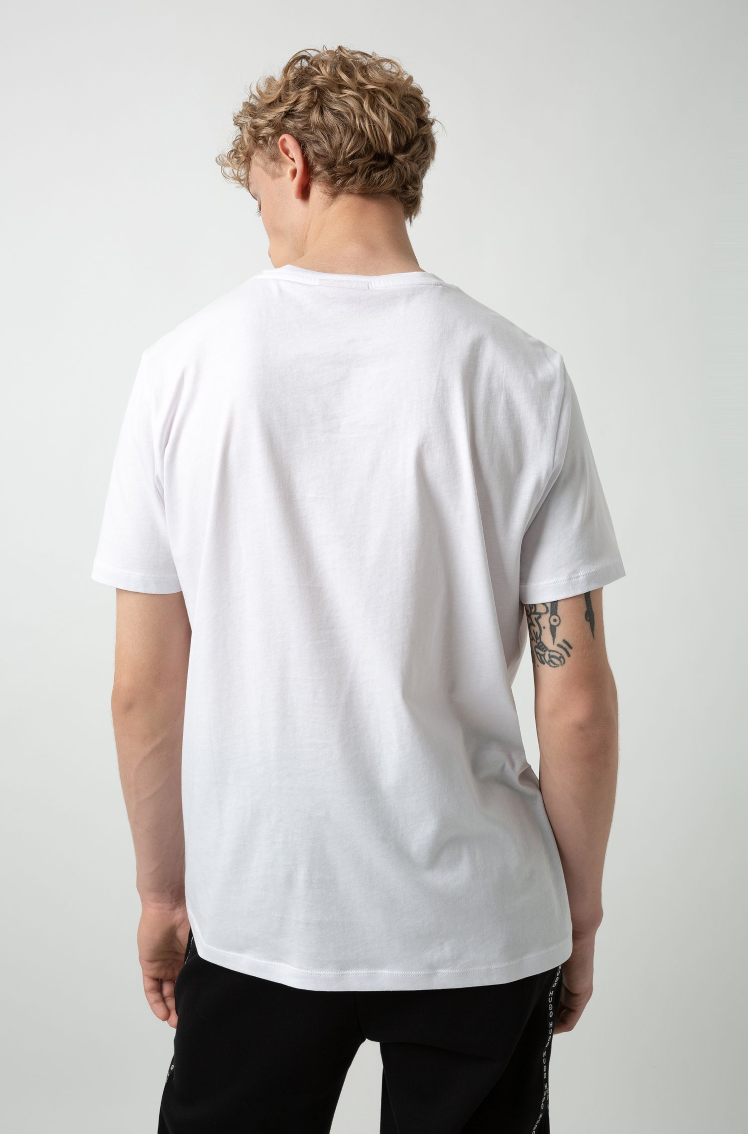 Reverse-logo T-shirt in single-jersey cotton, White