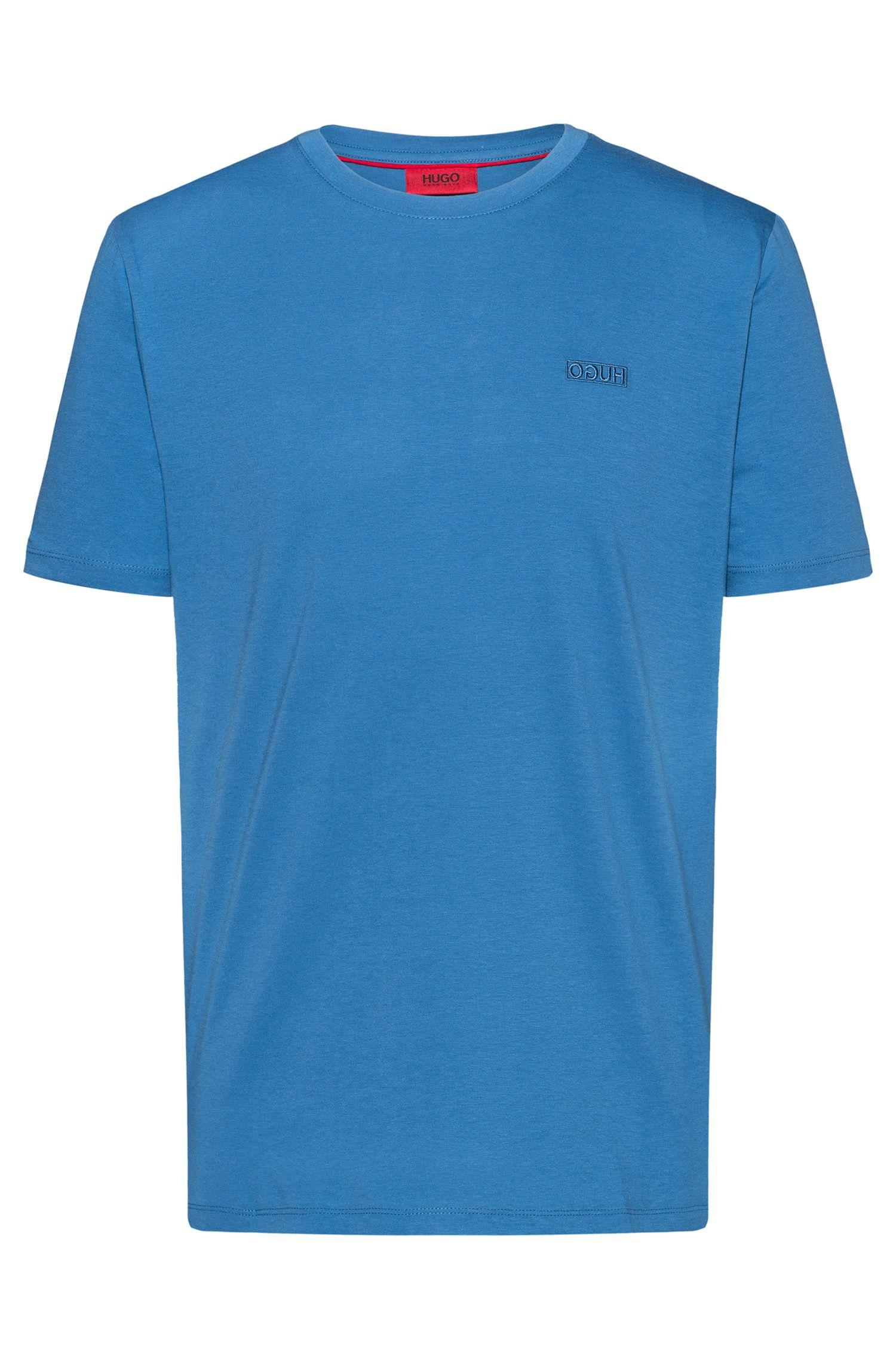T-shirt van katoenen single-jersey met gespiegeld logo, Blauw