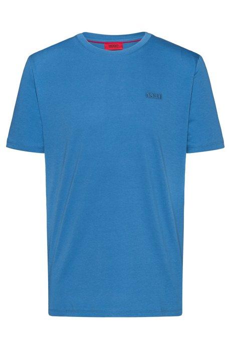 Reverse-logo T-shirt in single-jersey cotton, Blue