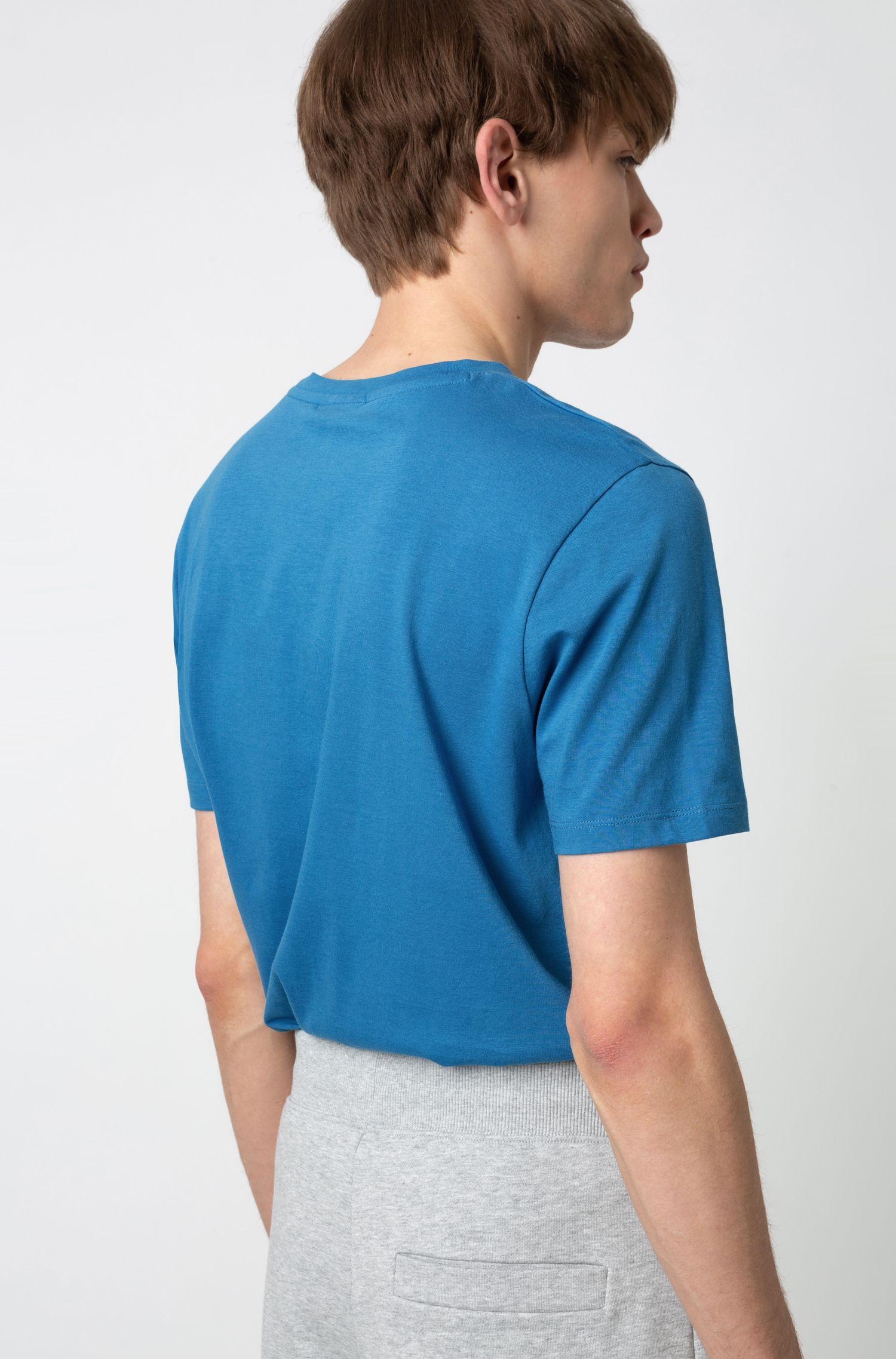 T-Shirt aus Single Jersey mit spiegelverkehrtem Logo, Blau
