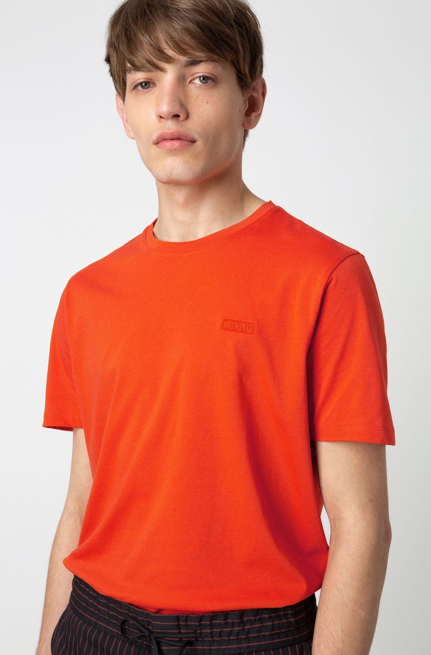 T-Shirt aus Single Jersey mit spiegelverkehrtem Logo, Orange